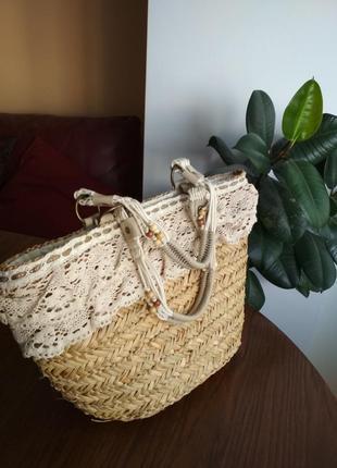 Стильна соломяна сумка