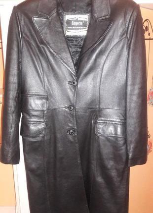 Кожаное пальто утепленное