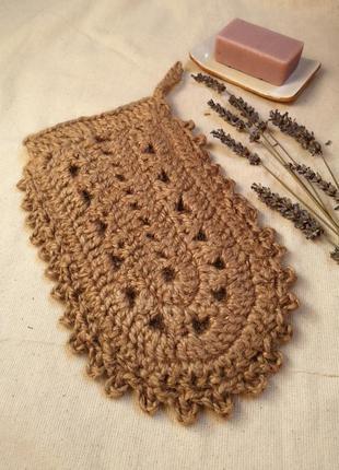 Натуральная джутовая мочалка рукавичка