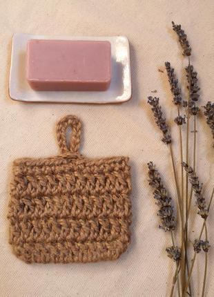 Натуральная джутовая мочалка, кармашек для мыла