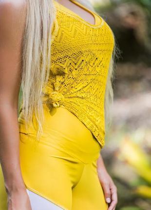 🎁1+1=3 кружевная желтая майка dorothy perkins, размер 48 - 50