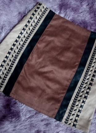 Крутая винтажная юбка под замшу с подкладкой