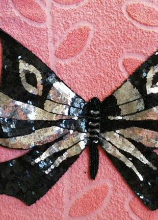 Топ бабочка черное серебряный