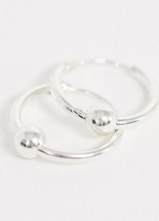 """Серебряные серьги-кольца с подвесками """"шарики"""" kingsley ryan с сайта asos4 фото"""