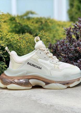 Женские кроссовки balenciaga clear sole cream gold