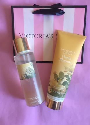 Набор парфюмированный спрей для тела oasis blooms  victoria's secret и лосьон