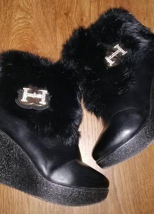 Зимние черный ботинки, полусапожки, ботильоны на танкетке, платформе 40 р.