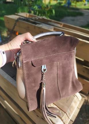 Женская сумка на длинном ремешке, можно носить еак рюкзак,натуральная замша