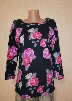 Стильная женская кофта, джемпер, свитшот в цветочный принт h&m