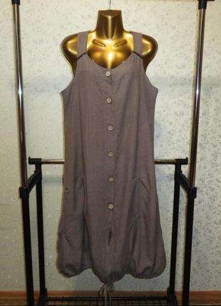 Платье италия лен бохо кокон рубашка сарафан р. 46-48 льняное