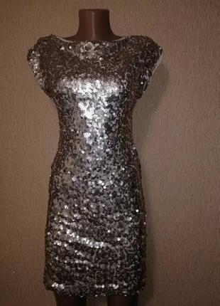 Блестящее короткое женское вечернее, коктейльное платье с пайетками tfnc london