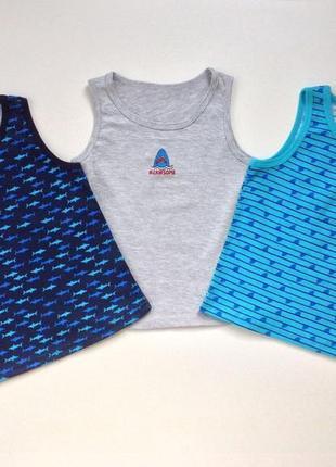 Фирменный комплект 3 шт майки для мальчика подростка акулы primark
