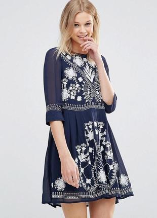 Эксклюзивное богемное платье с вышивкой french connection