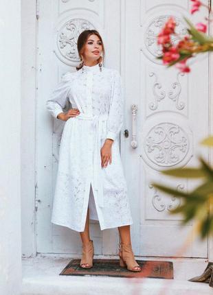 Белое платье миди прошва с рукавом