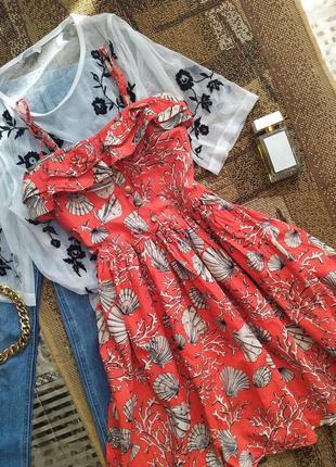 Сарафан / платье / нарядное морской принт / воланы резинка / пышное бюстье / сукня