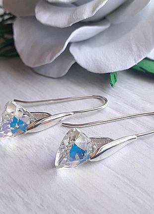 Серебряные серьги треугольники