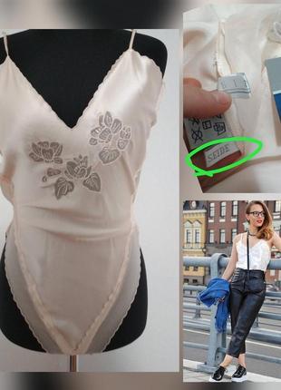 Фирменная шелковая майка топ в бельевом стиле с кружево вышивка 100% шёлк комбидрес шовк