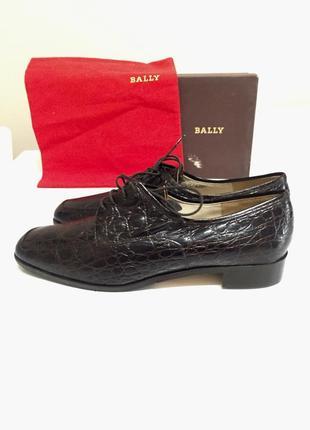 Bally мужские новые туфли из кожи крокодила,бриллиантовая коллекция