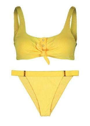 Крутой желтый купальник в рубчик new yorker