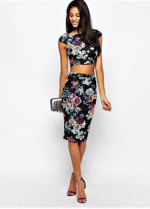 Шикарная ажурная юбка карандаш миди в цветочный принт💞
