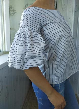 Блузка рубашка в полоску воланы рукава фонарики открытые плечи