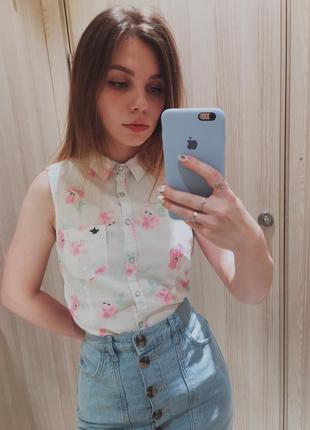 Нежная блуза на кнопках
