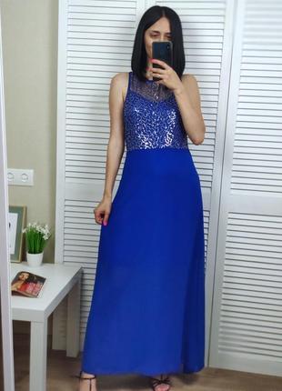 Платье синее с паетками