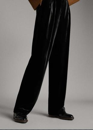 Штаны брюки бархатные палаццо чёрные  massimo dutti