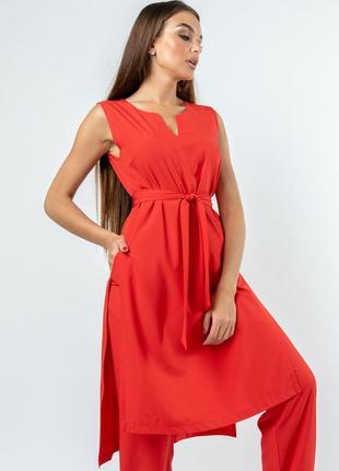 Удлиненная свободная летняя женская красная туника с разрезами