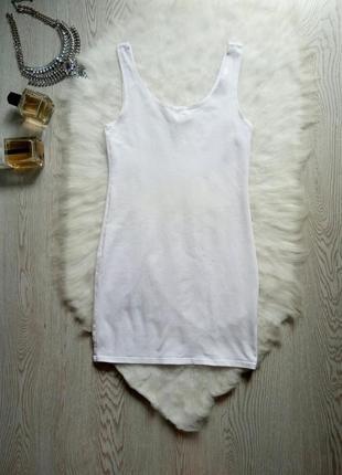 Белая длинная майка туника натуральный хлопок стрейч однотонная