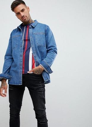 Синяя выбеленная джинсовая рубашка в стиле милитари boohooman