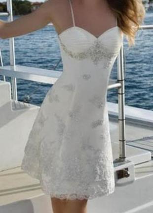 Свадебное платье для росписи весільна сукня м 46 40 короткое белое біла