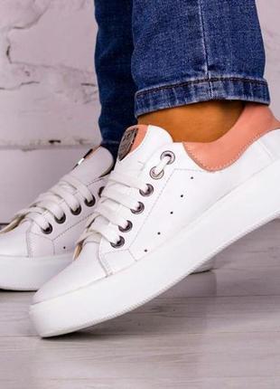 Натуральные кожаные белые кеды кроссовки размеры