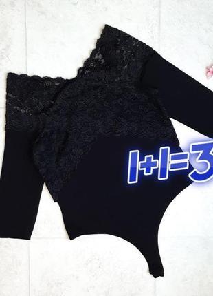 1+1=3 стильное черное боди бодік с кружевом asos, размер 44 - 46