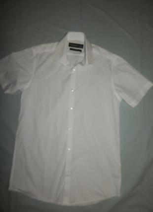 "Рубашка белая новая  xs-s 15"" 38 см slim fit"