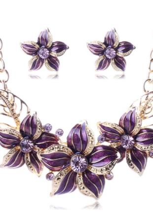 Набор серьги и колье австрийское стекло фиолетовое