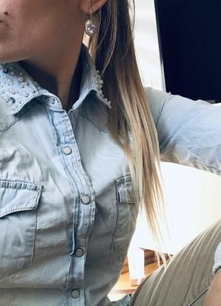 Джинсовая женская рубашка stradivarius