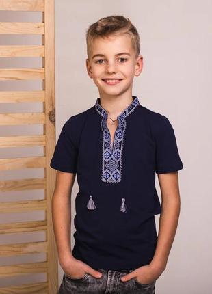 Качественная футболка с вышивкой вышиванка есть размеры от 3 до 12 лет