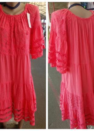 Невесомое натуральное  платье ярусами свободного кроя италия 2 цвета