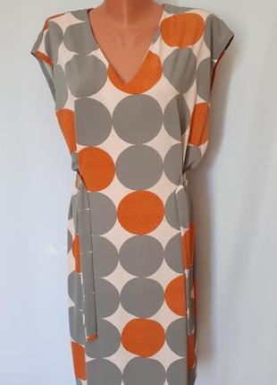 Серое платье в оригинальный принт next dresses ( размер 12)
