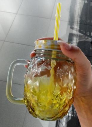 """""""ананас"""" стеклянная баночка для напитков"""