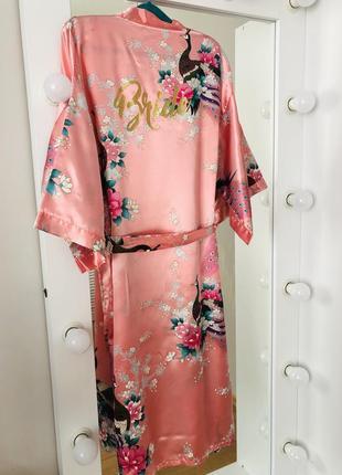 Халат bride 👰 розовый с жар-птицей