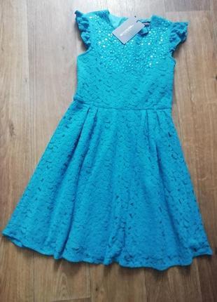 🔥распродажа! бирюзовой гипюровое платье с пайетками, сукня, плаття, платье, с пышной юбкой