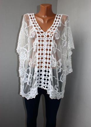 Роскошная нереально нежная блуза, туника, пляжное платье из дорогого кружева!