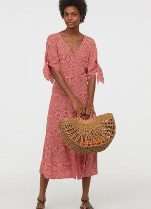Прелестное платье в мелкий цветочек от h&m, завязочки, пуговки, натуральная ткань,