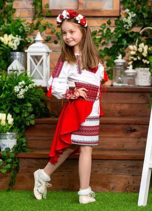 Яркий костюм с вышивкой для девочки платье и баска красный и белый цвет от 3 до 12 лет