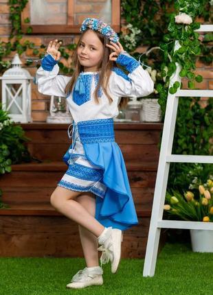 Очень эффектный костюм в украинском стиле платье и баска есть размеры от 98 до 152 см
