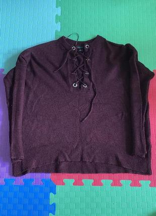 Бордовый теплый свитер