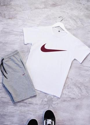 Летний мужской спортивный костюм комплект футболка и шорты nike