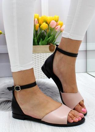 Новые женские кожаные черно-бежевые  босоножки сандали босоніжки